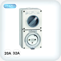 3 Round Pin Combination Switched Sockets 250VAC IP66