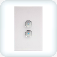 Opal Two Gang Switch - LED Push Button