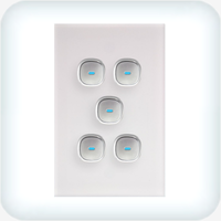 Opal Five Gang Switch - LED Push Button