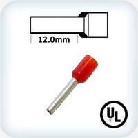1.0mm² Bootlace Pins 12mm Lgth Red Pk100