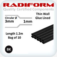 RDW Black 3 to 1mm x 1.2m 10 Length Pack