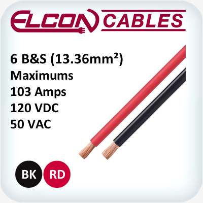 Battery and Starter Cable 6AWG 30m Rolls Black