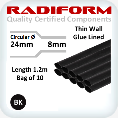 RDW Black 24 to 8mm x 1.2m 10 Length Pack